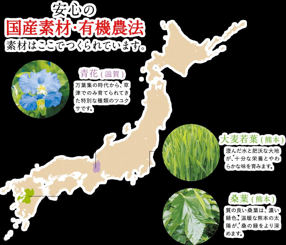 安心の国産素材・有機農法 素材はここでつくられています。大麦若葉(熊本)、桑葉(熊本)、青花(滋賀)