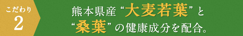 """こだわり2 熊本県産""""大麦若葉""""と""""桑葉""""の健康成分を配合。"""