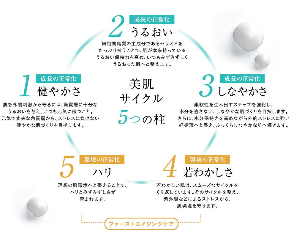 美肌サイクル5つの柱 | 1.健やかさ 2.うるおい 3.しなやかさ 4.若わかしさ 5.ハリ